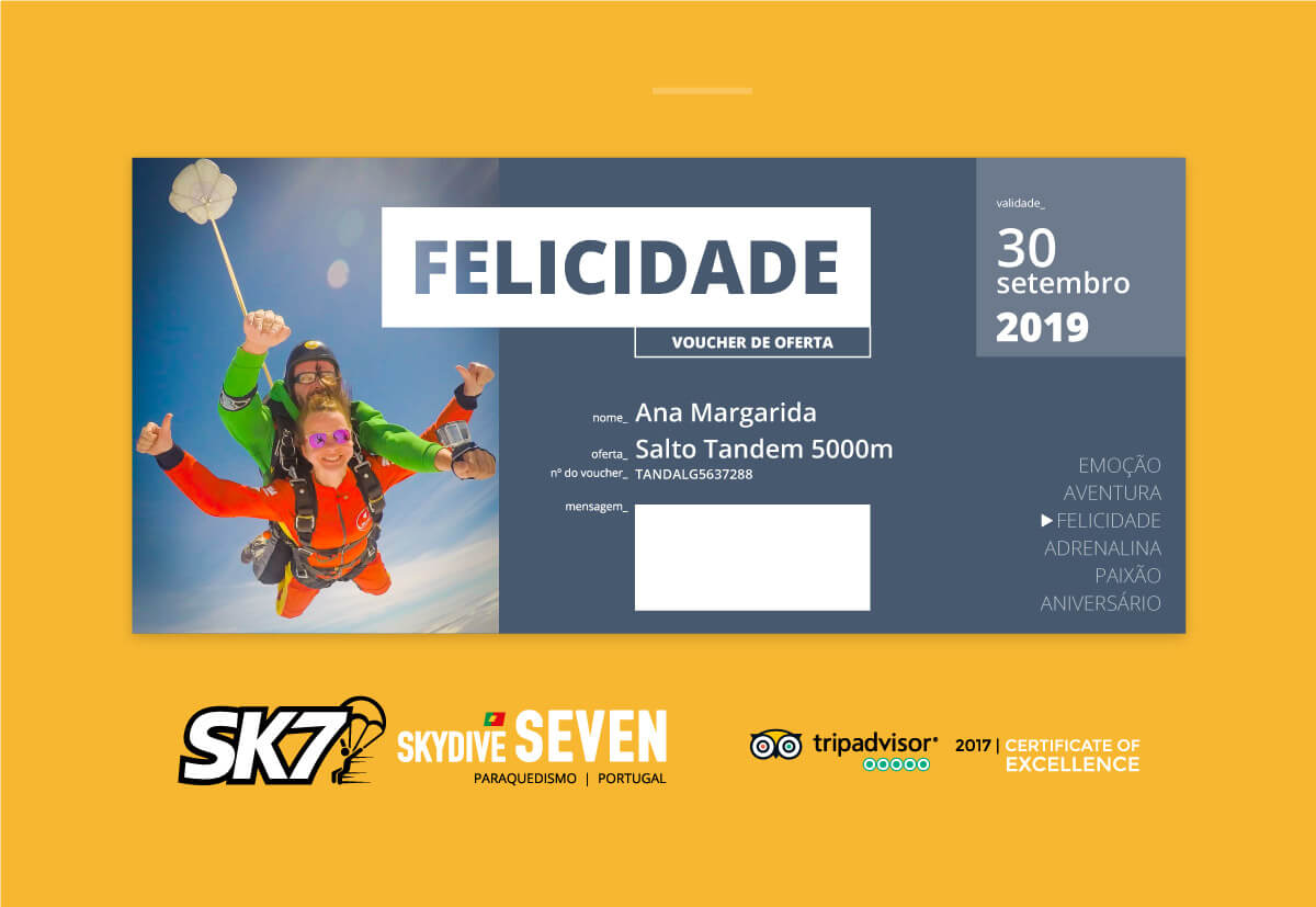 vouchers tandem skydive gift portugal
